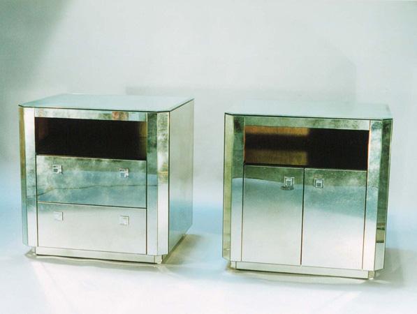 modern antiqued or plain mirror bedside cabinets